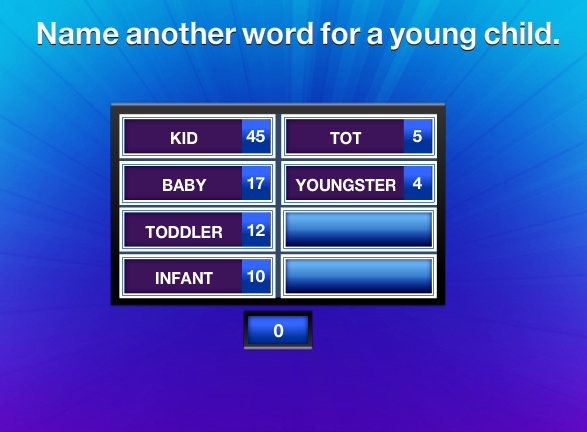 Name Another Word For A Young Child  Family Feud Guide. Ceiling Lighting Ideas For Small Living Room. Style Ideas For Small Living Rooms. Living Room Ideas Furniture Arrangement. Living Room Ideas For First Apartment. Wall Colours For Living Room 2016. Beach Condo Living Room Ideas. French Country Style Living Rooms. Small Living Room No Coffee Table