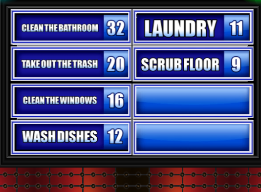 Name A Household Chore You Refuse To Do. - Family Feud Guide ...